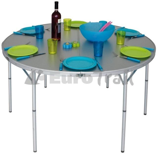 Ronde aluminium campingtafel met water en hitte bestendig topblad dus geschikt voor buiten gebruik. Verstelbare poten incl. draagtas.